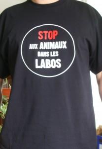 T-shirt Stop aux Animaux dans les Labos noir