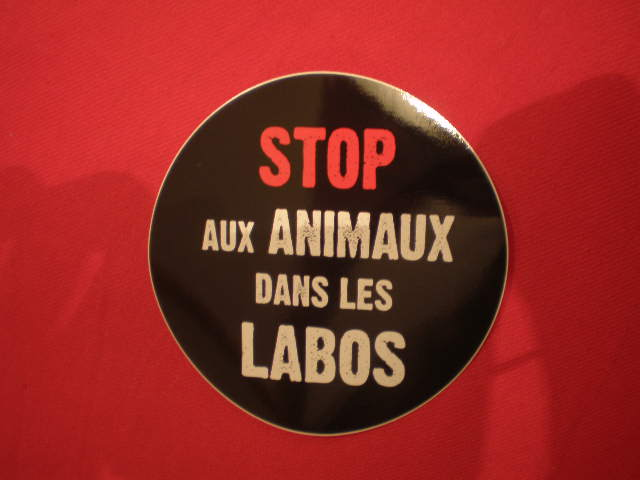 autocollant Stop aux Animaux dans les Labos