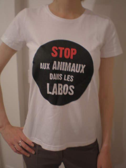 T-shirt Stop aux Animaux dans les Labos blanc