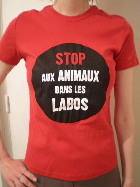 T-shirt Stop aux Animaux dans les Labos rouge