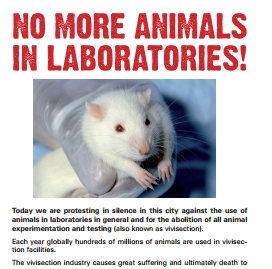 Tract en anglais de sensibilisation à la vivisection