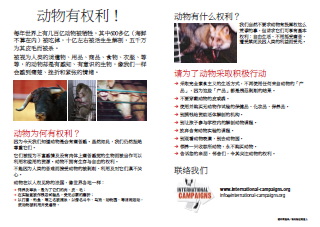 Tract droits des animaux (en chinois)