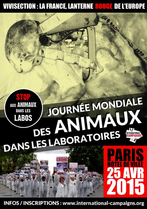 Happening géant Journée mondiale animaux laboratoire 2015