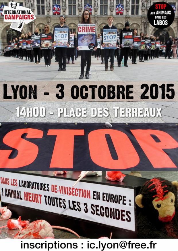 Lyon Happening contre expérimentation animale 03 octobre 2015