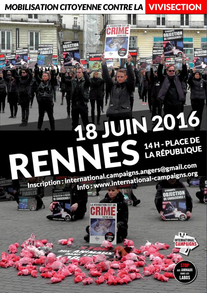 RENNES – Samedi 18 juin 2016 – Nouveau happening contre la vivisection