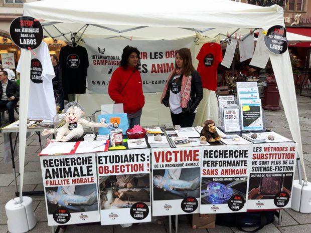 STRASBOURG - 14 mai 2016 Marche contre un élevage de primates pour la vivisection