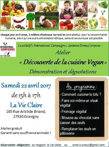 International Campaigns Evreux - Samedi 22 avril 2017 - Atelier découverte de la cuisine vegan pour débutants