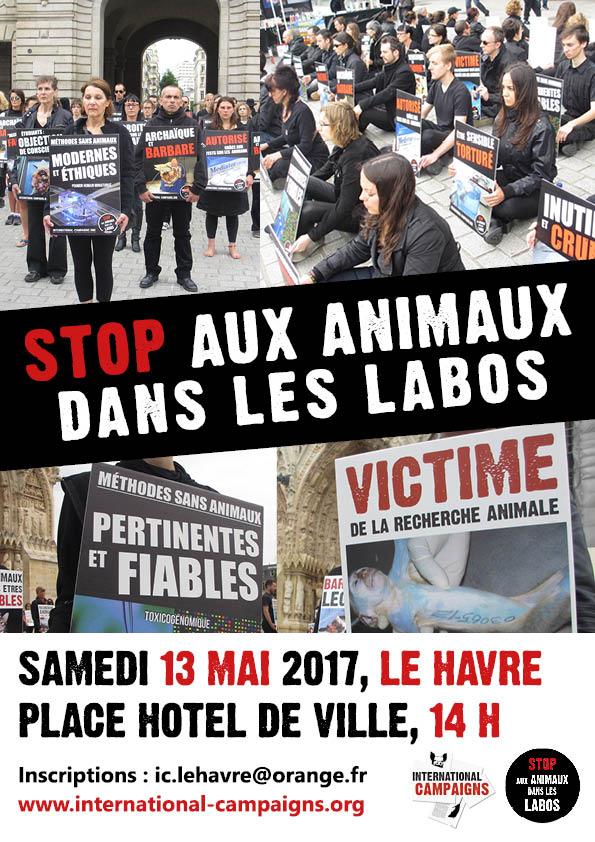 Happening STOP aux animaux dans les labos 13 mai 2017 au Havre
