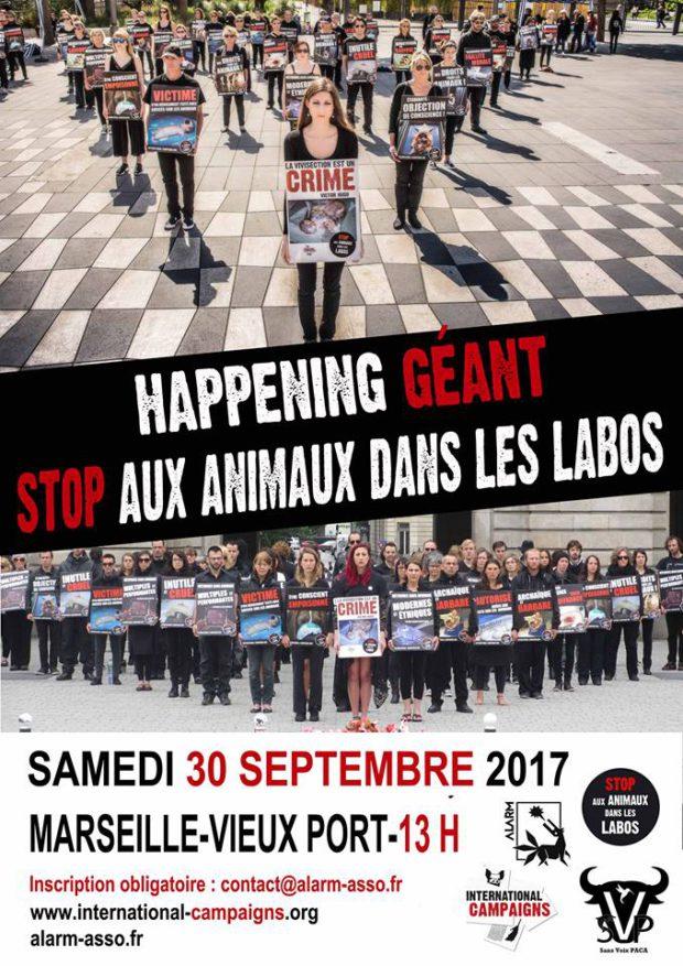 MARSEILLE - Samedi 30 septembre - Happening Géant STOP aux Animaux dans les Labos